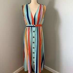 TCEC Striped Button Down, Sleeveless Dress